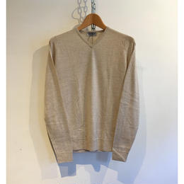 "JOHN SMEDLEY ""IMPERFECT SHOPTON Pullover"" Beige Fine Merino Wool"
