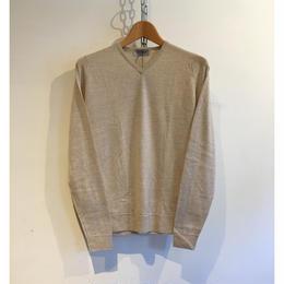 "JOHN SMEDLEY ""IMPERFECT SHOPTON Pullover"" Beige Fine Merino Wool"