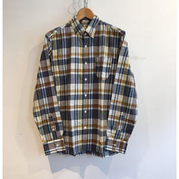 "J.Crew ""Indian Madras""  B.D Shirt  Yellow×Brown"