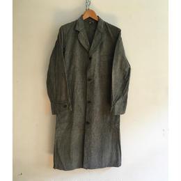 "40's Salt&Pepper Chambray Atrier Work Coat ""Wood Buttons"""