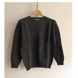 Harley of Scotland Crew Neck Shetland Sweater Smoulder
