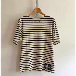 Stenciled Breton Shirt  Made in France  White×Navy
