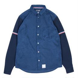 XLS-SWITCH  NAVY (コーデュロイ&ワッフル切り替えシャツ)