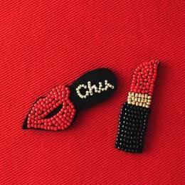 材料パック「オトナのビーズ刺繍ブローチ」lip & lipstick