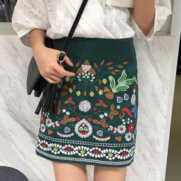 エスニック刺繍ミニスカート