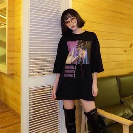 クロスリボンプリントTシャツ ブラック
