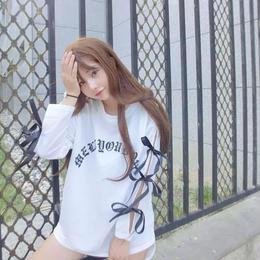 リボンスリーブロングTシャツ ホワイト