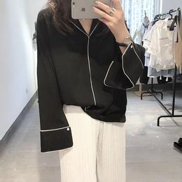 ナイトウェアルックシャツ ブラック