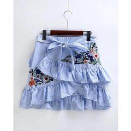 ストライプフリル刺繍スカート