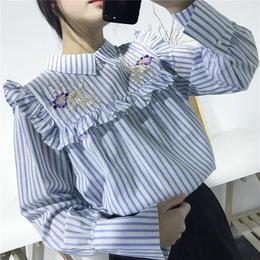 ストライプフリル刺繍シャツ