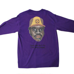 ball park longsleeve back print Tee  -purple-  (TAMANIWA ×SHUNTARO TAKEUCHI)