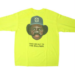 ball park longsleeve back print Tee  -yellow-  (TAMANIWA ×SHUNTARO TAKEUCHI)