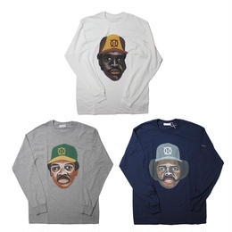 ball park  long sleeve tee (TAMANIWA ×SHUNTARO TAKEUCHI) -  front   white /grey /navy