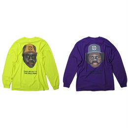 ball park longsleeve back print Tee (TAMANIWA ×SHUNTARO TAKEUCHI)  -yellow / purple
