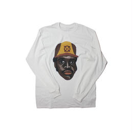 ball park  long sleeve tee  front-WHITE  (TAMANIWA ×SHUNTARO TAKEUCHI)
