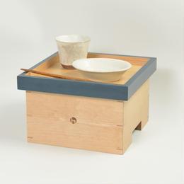 色漆の箱膳 小さいサイズ 青 / hacozen