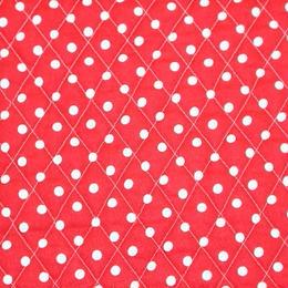 YUWA水玉キルト(赤) 【10cmあたり】
