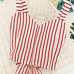 Back ribbon stripe camisole