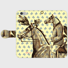 『『馬が馬に乗る・青薔薇』 全機種対応・受注生産 手帳型スマホケース