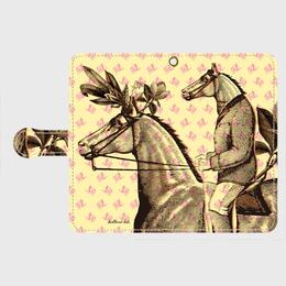『『馬が馬に乗る・ピンク薔薇』 全機種対応・受注生産 手帳型スマホケース