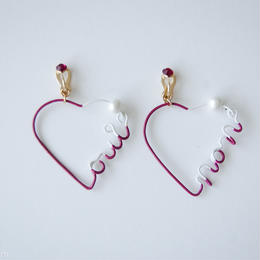 Arty Wire Pierced Earrings  - oui non heart EARRING  / GRAPE RED