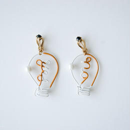 Arty Wire Pierced Earrings  -yes no bulbs  EARRING  / DARK YELLOW
