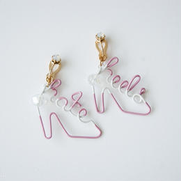 Arty Wire Pierced Earrings  - hate heels  EARRING / MAUVE ROSE -G