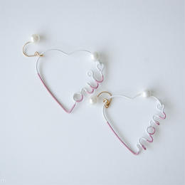 Arty Wire Pierced Earrings  - oui non heart PIERCE  / MAUVE PINK