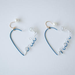 Arty Wire Pierced Earrings  - oui non heart PIERCE  / VINTAGE BLUE