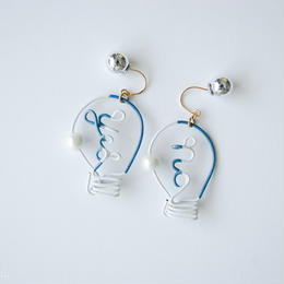 Arty Wire Pierced Earrings  -yes no bulbs  PIERCE  / GRAY BLUE
