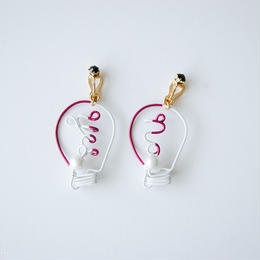 Arty Wire Pierced Earrings  -yes no bulbs  EARRING  / GRAPE RED