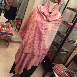 【カシミール】カシミアKani織りピンクペイズリーストール