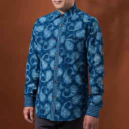 Indigo shirt:men's  (paisly/nomal coller)
