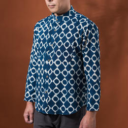 Indigo shirt:men's  (diamonds dots/stand coller)