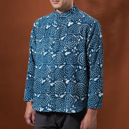 Indigo shirt:men's (drop flower/stand coller)
