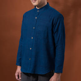 Indigo shirt:men's  (plain/stand coller)