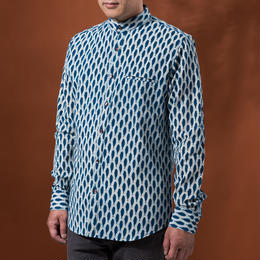Indigo shirt:men's  (fish/stand coller)