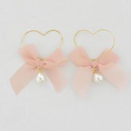 トリプル可愛い!!ハート&リボン&パールのピアス/2色(ピンク・ネイビー)/送料無料