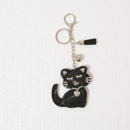 マスコットチャーム/きらきらスパンコール/ねこちゃんキーホルダー(CAT)