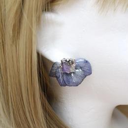 紫陽花とビジューのピアス(ブルー)