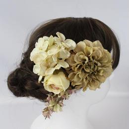 アンティークカラーのダリアとアジサイのヘッドドレス