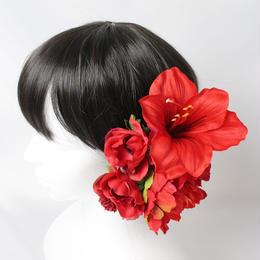 真っ赤なピオニーとアマリリスのヘッドドレス