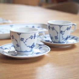 """【ヴィンテージ】ロイヤルコペンハーゲン ブルーフルーテッドプレーン""""Blue Fluted """" コーヒーカップ&ソーサー I-3558,3535-180731"""