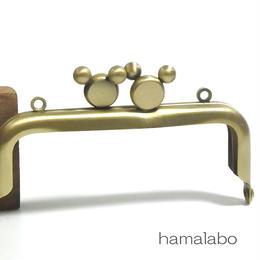<アウトレット>【HA-1341】ハマラボちゃん口金 8.5cm/角型(アンティークゴールド)カン付き