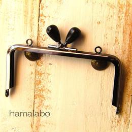 【HA-325】12cm/角型(黒色の木オーバル×ブラック)・カン付き