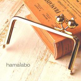 9月13日販売開始!【HA-1528】<横ひねり>12cm/角型の口金(ネコ玉×ゴールド)