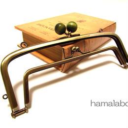 【HA-351】<廉価版>親子口金 19cm(抹茶色の木玉×アンティークゴールド)・カン付き