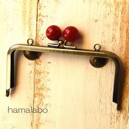 【HA-323】12cm/角型(べっ甲玉×アンティークゴールド)・カン付き