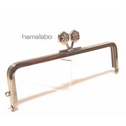 【HA-1475】16.5cm角型の口金(六花-雪の結晶×シルバー)