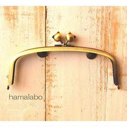 3月18日販売開始!【HA-1559】17cm/くし型の口金/(ネコ玉×アンティークゴールド)